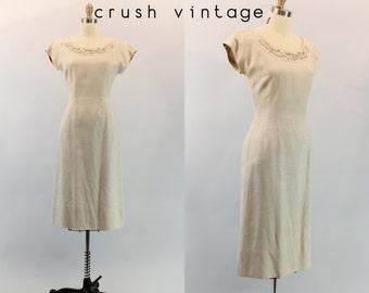 40s Jerry Gilden Dress Medium / 1940s Linen Beaded Dress  /  Bay Branch Dress