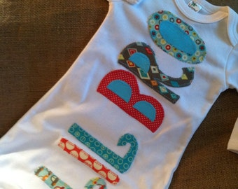 Lil Bro infant gown, applique baby gown, baby brother gown