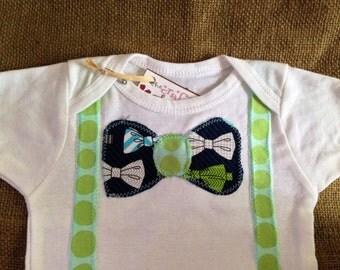 neck tie suspenders appliqué one piece baby bodysuit, neck tie applique,suspenders applique, baby boy outfit, boy baby shower gift