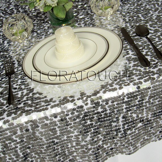 48in x 48in Silver, Gold or Black Sparkling Sequins Wedding Table Overlay - other colors also available