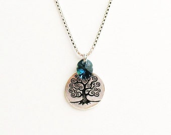 Celtic Tree of Life Necklace with Blue Swarovski Crystal  - on Sterling Silver Chain