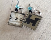 Steampunk Monopoly Earrings B&O Railroad with Turquoise Swarovski Crystals Black Onyx Beads Sterling French Hooks Vintage Game Pieces Train