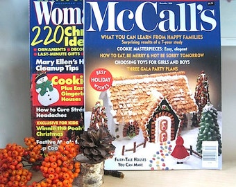 Christmas Magazines  McCall's and Woman's Day December 1990 Holiday Treats. Christmas Celebration. Yuletide Tips. Recipes. Xmas Decorations.
