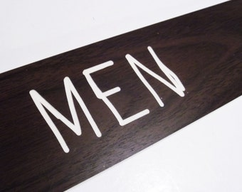 Squiggly Men Simulated Woodgrain Sign church 1970s plastic