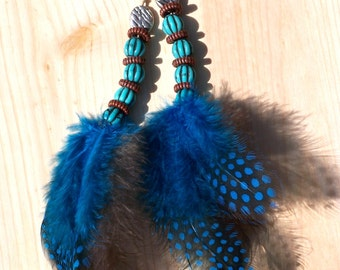 Turquoise and Brown Feather Hair Clip