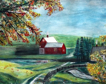 Late Autumn Vermont Farm--SIGNED PRINTS 8 X 10 - 15.00, 11 x 14 - 25.00, 13 X 19- 35.00. Message me and I will list them .