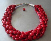 Red  Necklace..Red Turquoise Statement Necklace..Red Chunky Multistrand Necklace..Red Torsade Bib Necklace..