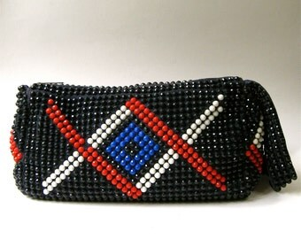60s vintage Roger Van S Geometric Beaded Oblong Fabric Purse