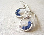 Blue sapphire petite crescent circles in sterling silver