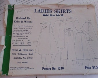 Vintage Ladies Skirts Waist Size 24-34 by Hems and Hers Patterns Pattern No. 1530 For Knit and Wovens Fabric