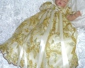 REBORN Doll or BABY vICTORIAN  White Tulle/ Gold Sequin/Embrodery GOWN for  sz 0-3 mth