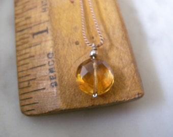 November Birthday, November Birthstone Citrine Necklace, Simple Necklace, Simple String Necklace, Citrine Pendant on Cord