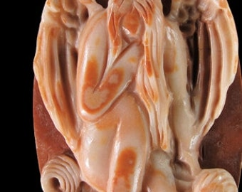Gemstone Pendant Bead Hand Carved Angel Red MALACHITE Sculptured Stone Amulet MGS022P