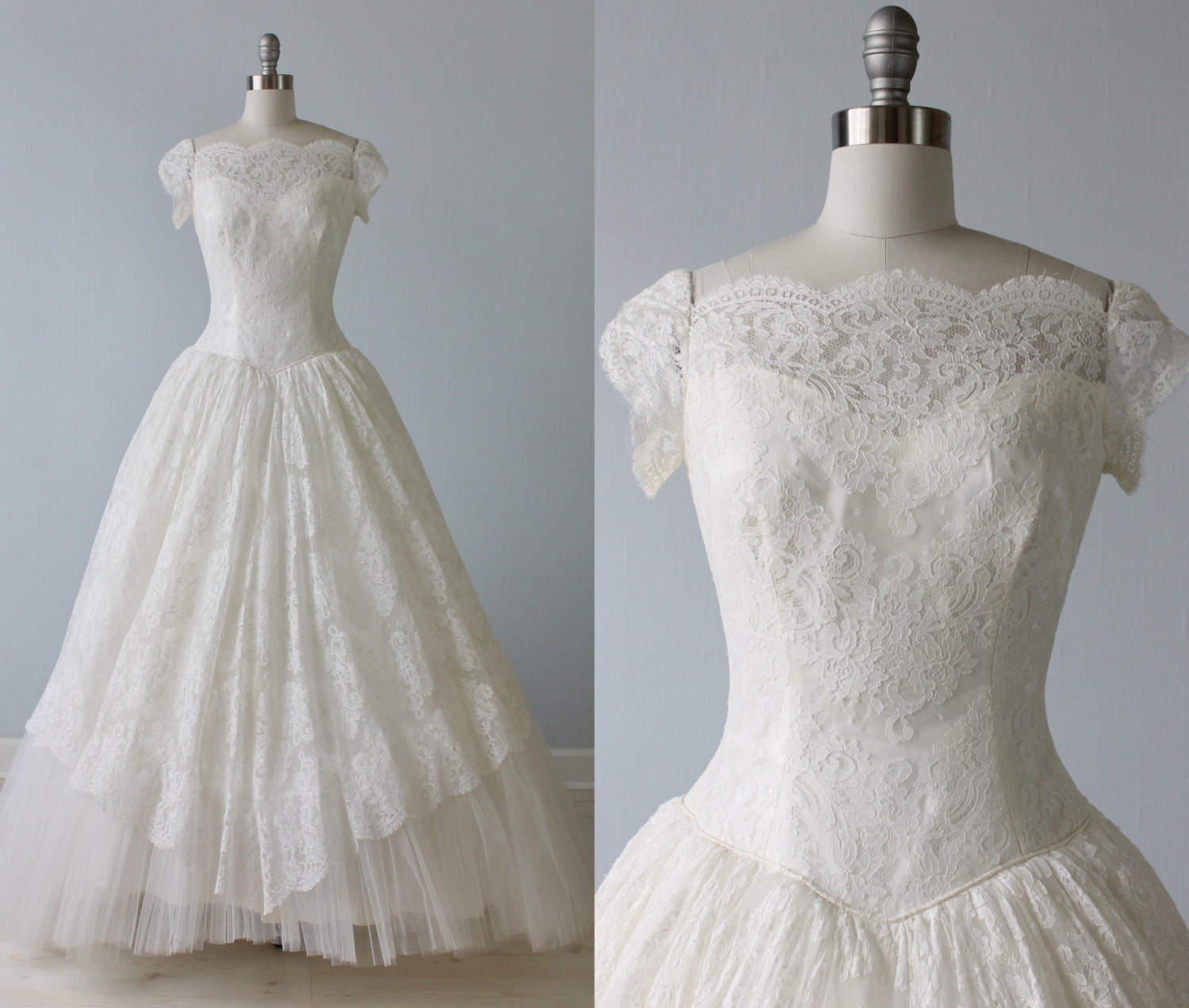 Reserved 1950s Wedding Dress 1950s Lace Wedding Gown Short