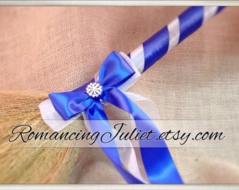Classic Jump Broom Made in Your Custom Colors with Rhinestone Accent ..shown in royal blue/silver gray