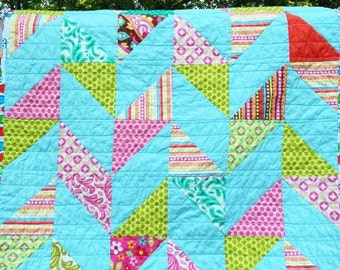 Herringbone Quilt, You choose Size and color palette