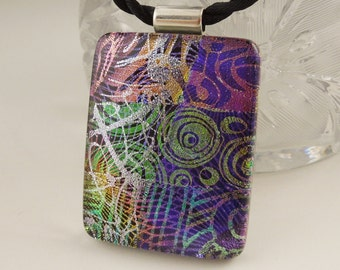 Rainbow Necklace - Dichroic Fused Glass Pendant - Fused Glass - Mosaic Pendant - Dichroic Glass X7778