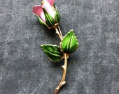 Gorgeous Vintage GIOVANNI Rosebud Brooch Hand Painted Detail