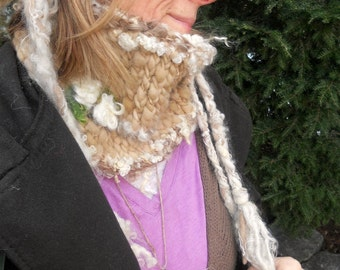 rustic handknit cowl scarf neckwarmer of warmth and softness -  gentle winter gathering - on sale