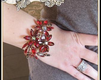 OOAK Ruby Red Rhinestone Brooch Bracelet Christmas Gift