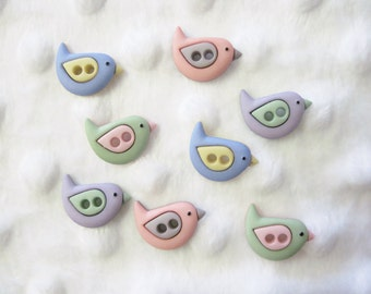Sew Cute Bird  Buttons  Set of 8