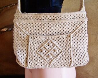 70s Macrame Bag, macrame purse, soft bag, Vegan bag, 70s summer bag, macrame bag