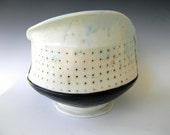 Large Handbuilt Porcelain Fruit Bowl With Polka Dot Pattern - Sale- FREE U.S. SHIPPING