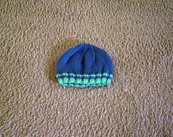 Hand Knit Baby Hat in Green with Blue Stripes or Blue with Green Stripes