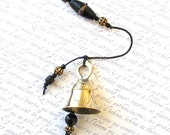 Beaded Garden Chime: Windchime with Lampwork Glass Beads. Black. Jet. Coal. Ebony. Antiqued Gold. Bronze. Sparkle. Elegant. Brass Bell