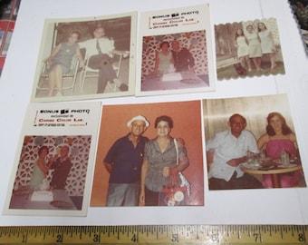 ORIG Photos 10 Hispanic Family Vintage Color Photos 60-70s Miami Vacation Party Men Women Mixed Media Collage Pkg Photograph Lot NY Ephemera
