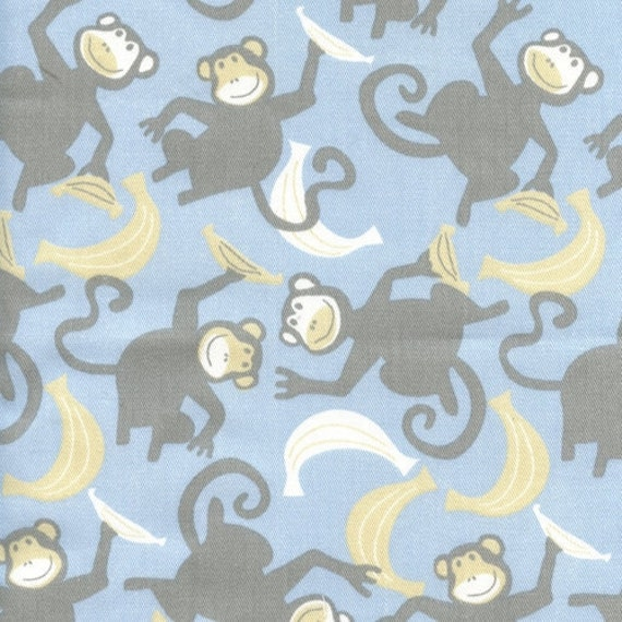 Monkey bananas fabric 2 5 yd nursery decor totes pillow for Grey childrens fabric