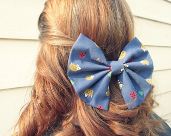 Woodland Hedgehogs Ladybugs and Clovers Patterned Fabric Hair Bow