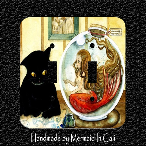 Items similar to vintage black kitty with mermaid in fish for Book with fish bowl on cover