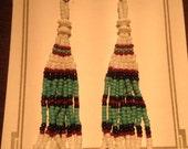 White/Turquoise Seed Bead earrings