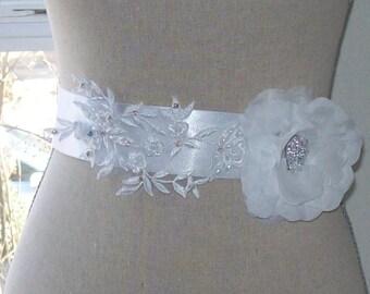 Wedding Sash,Lace Sash,Flower Sash,Rhinestone Sash,Bridal Sash