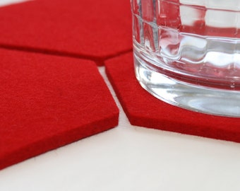 Red Hexagon Coasters for Drinks Absorbent Coasters 5mm Thick Virgin Merino Wool Felt Housewares Home Decor