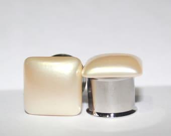 "Classic Square Cream Pearl Plugs 0G 00G 7/16""  1/2"" 8mm 10mm 11mm 12mm 13mm"