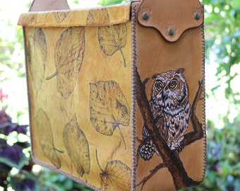 Genuine leather messenger bag with burned tree and owl images