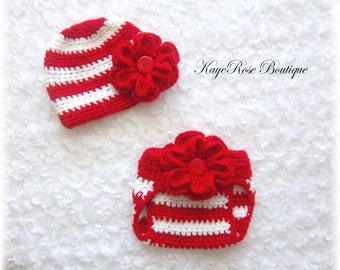 Newborn Baby Crochet Red and White Striped Flower Hat & Diaper Cover Set