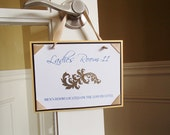 Ladies Room-Embossed Swirl Design with crystals-Ribbon Corners-Knotted Wide Ribbon to hang