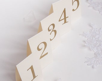 Mini Table Number- Set of 16- Thermography in Gold - Tent style