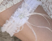 Net Wedding Garter with Feather Bow and Rhinestones Flower, Bridal Garter, Garter with Feathers and Rhinestones