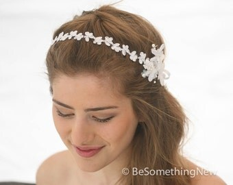 Wedding Flower and Daisy Lace Headband Pearl Tie Headpiece for Weddings in White,  Wedding Hair Bridal Headpiece Lace Headband