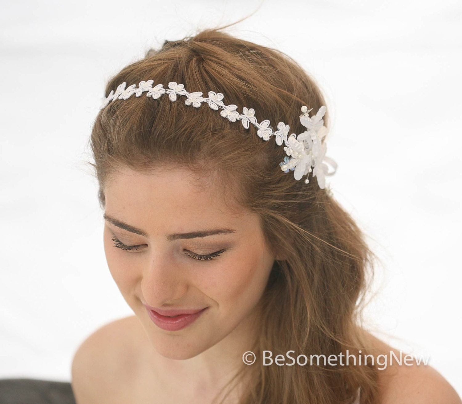 Floral Lace Headpiece For Wedding: Wedding Flower And Daisy Lace Headband Pearl Tie Headpiece For