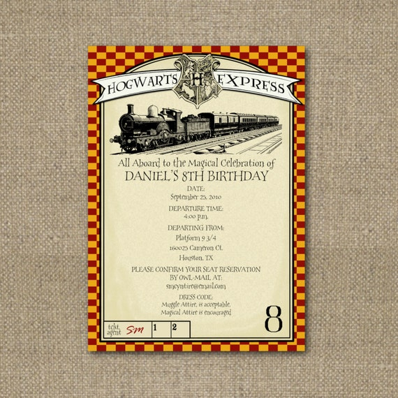 Harry Potterthemed party invitation – Harry Potter Party Invitation