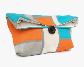 Orange, Aqua, Gray, and Natural Gemoetric Clutch, Squares and Rectangles, Colorful Makeup Bag, Orange Bridesmaid Gift