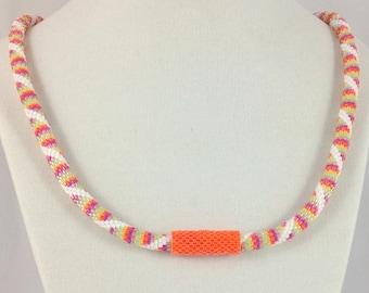 Spiral Splash Bead Crochet Necklace with Hidden Clasp...EBW Team