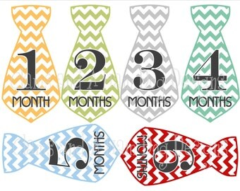 Monthly Milestone stickers- baby boy monthly sticker necktie- baby shower gift- chevron multicolored ties optional Gerber ONESIE- BOY272