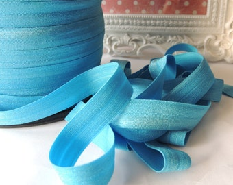 "5/8"" Inch Fold Over Elastic  - 5 Yards of M. Turquoise FOE"