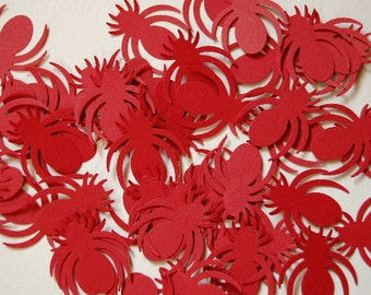 Red Spider Confetti - Punch - Cut Outs - Table Scatter - Bug Party -- Set of 50 -- Ready to Ship